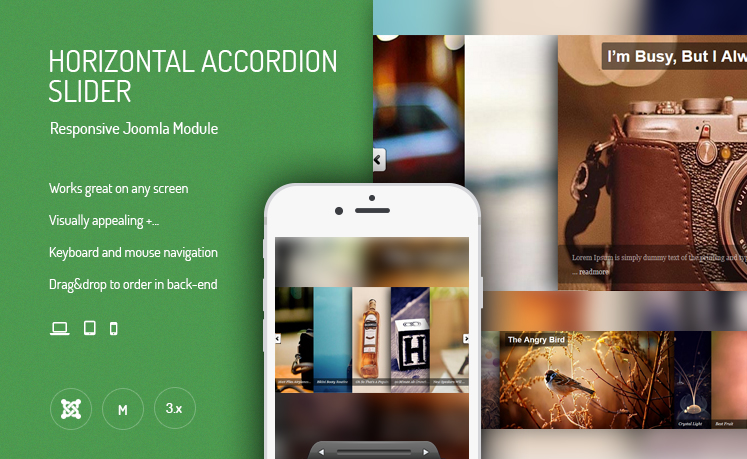 JUX Horizontal Accordion Slider - Responsive Joomla Module