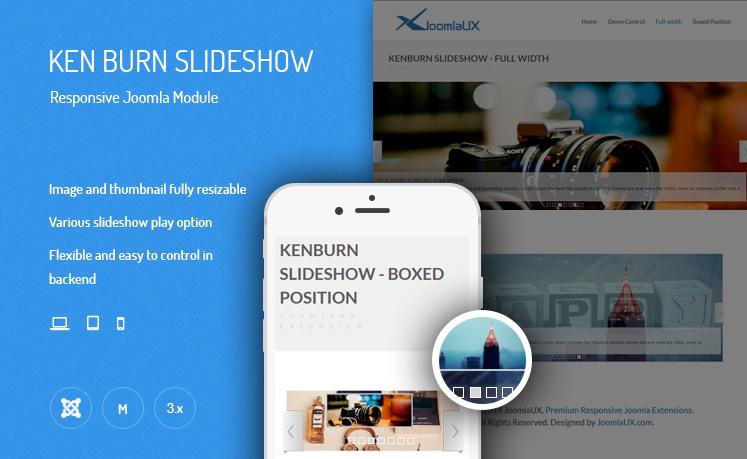 JUX Ken Burns Slideshow - Responsive Joomla Module