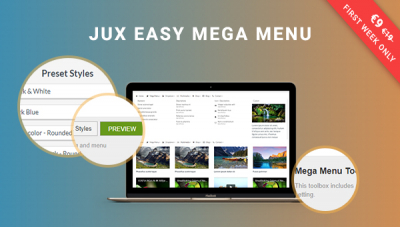 JUX Easy Mega Menu - New Drag & Drop Joomla Mega Menu
