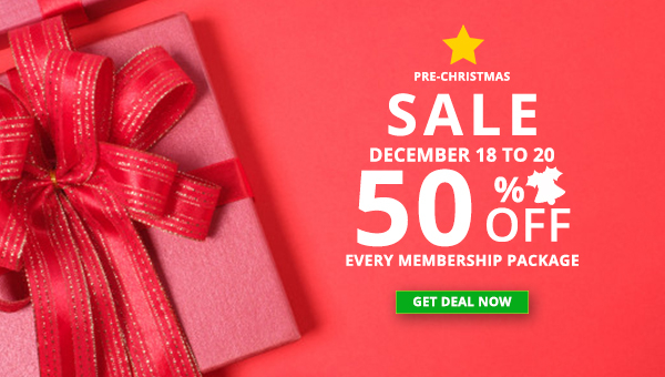 Best Xmas Sale Ever! 50% Off All Membership Package