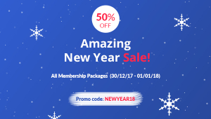 New Year Gift - 50% Discount on all Membership Packages