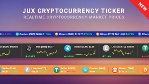 JUX Cryptocurrency Ticker - Nicely Display Cryptocurrency Market Prices